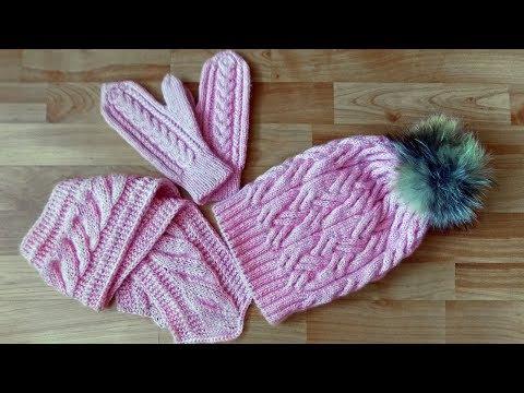Вязаные шарфы и варежки спицами