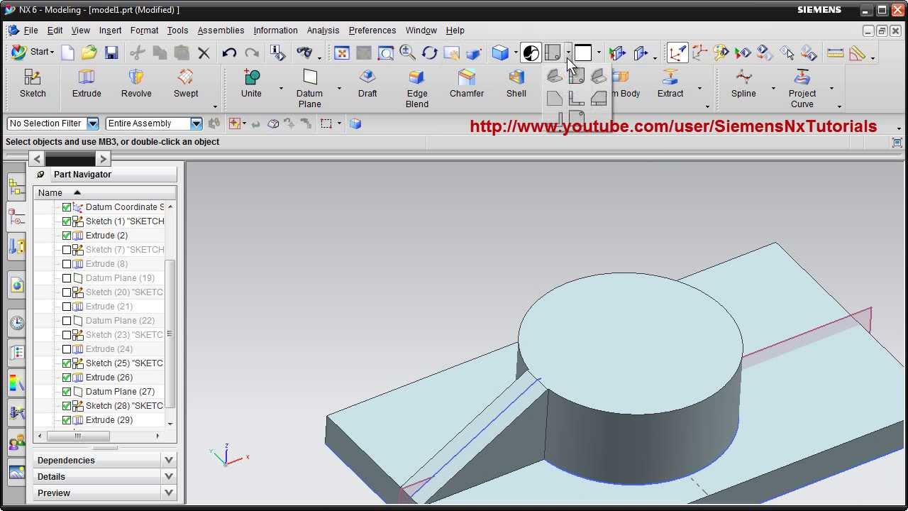 Siemens Nx Training Tutorial | UG Nx CAD Tutorial | How to create Rib /  Stiffener in Nx