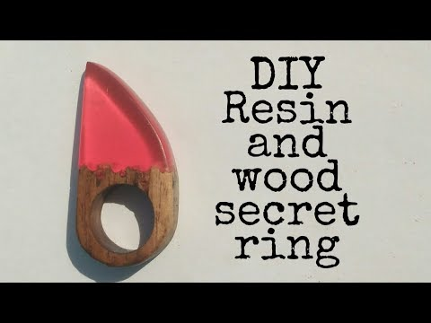 DIY resin and wood red colour ring | resin ring