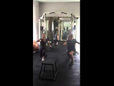 Sydney couple training cable lunge push