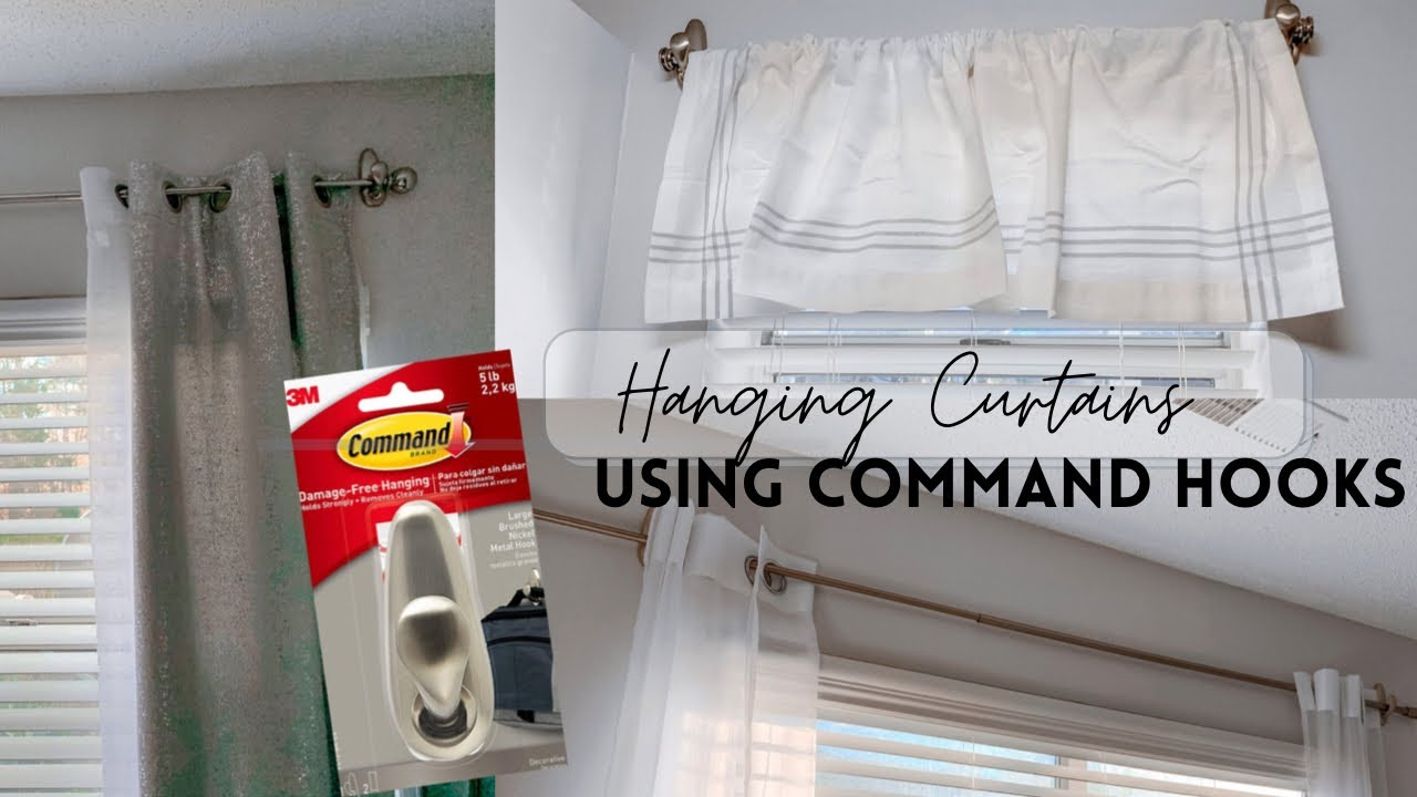 how to hang a curtain rod with command hooks no holes or tools apartment friendly