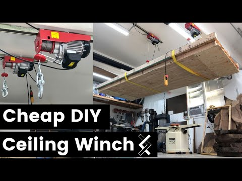 Cheap DIY Ceiling Winch—Overhead Hoist