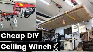 Cheap DIY Ceiling Winch—Overhead Hoist