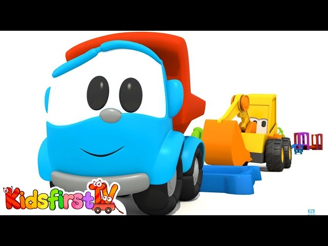 Car cartoon. Excavator Max &Leo the truck. Carousel sports equipment. Educational video #KidsFirstTV