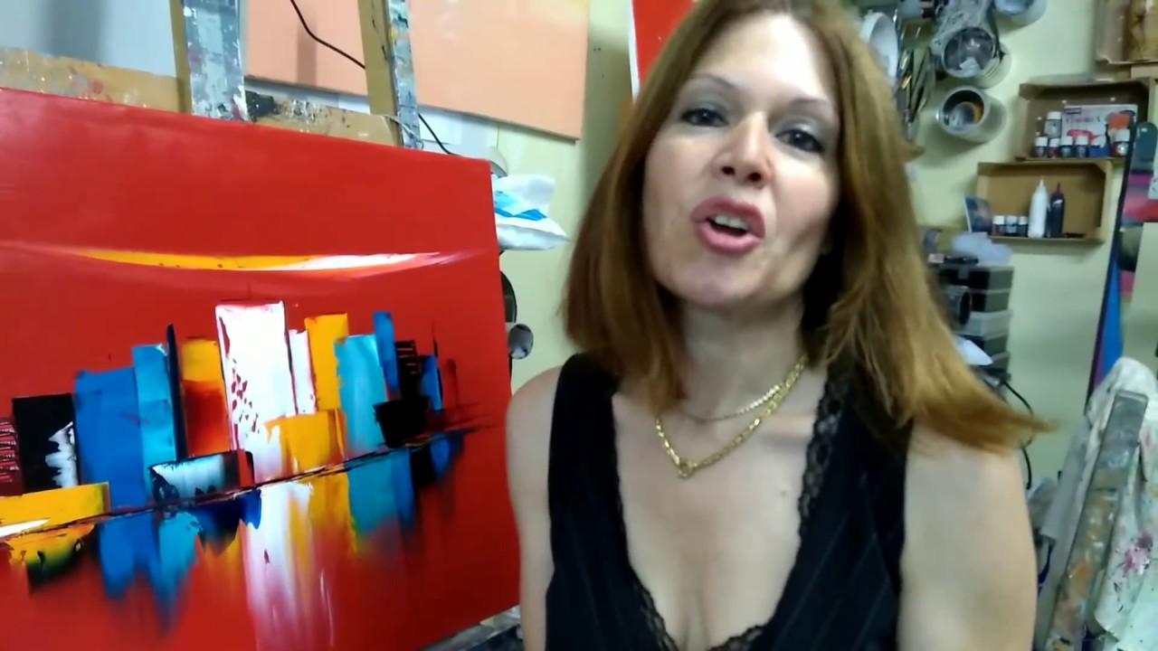 """Cours de peinture au couteau abstrait """"Manhattan"""" - YouTube"""