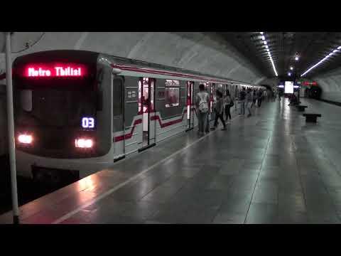 "Tbilisi metro   M1line at  Grmagele   მ/ს ""ღრმაღელე""  グルジア トビリシ地下鉄"
