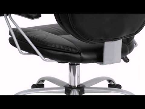 Flash Furniture GO-930-BK-GG Mid-Back Black Leather Task and Computer Chair