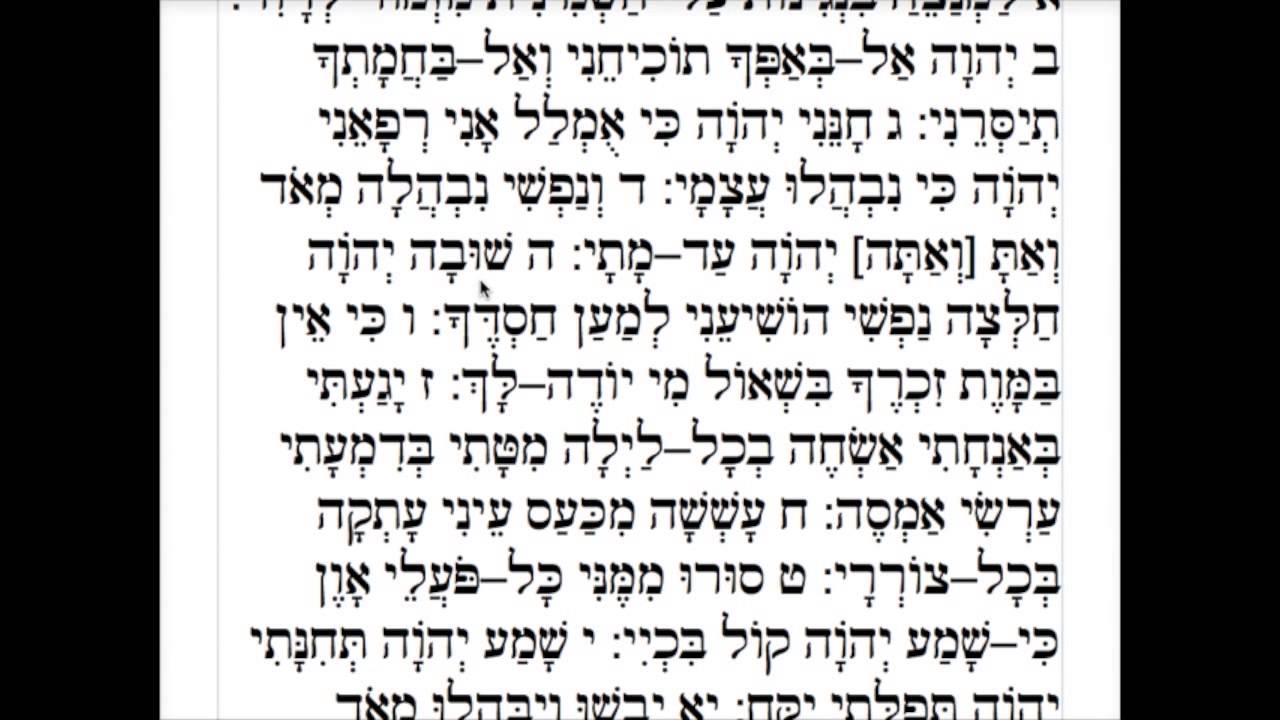 Psalm 6 Narration in Hebrew קריינות של תהילים ו