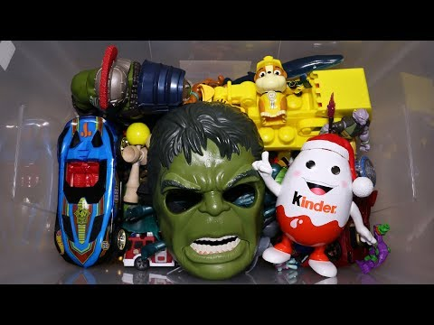 Toy Box: Action Figures, Cars, Hulk Mask, Kinderino, Dinosaurs and More