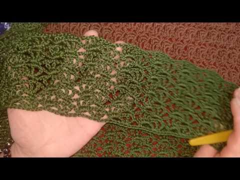 Вязание крючком узор ракушка двухцветный схема и модель