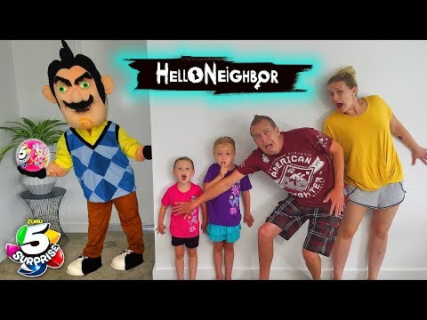 Hello Neighbor in Real Life! 5 Surprise Ball Toy Scavenger Hunt at a Stranger's House!!!