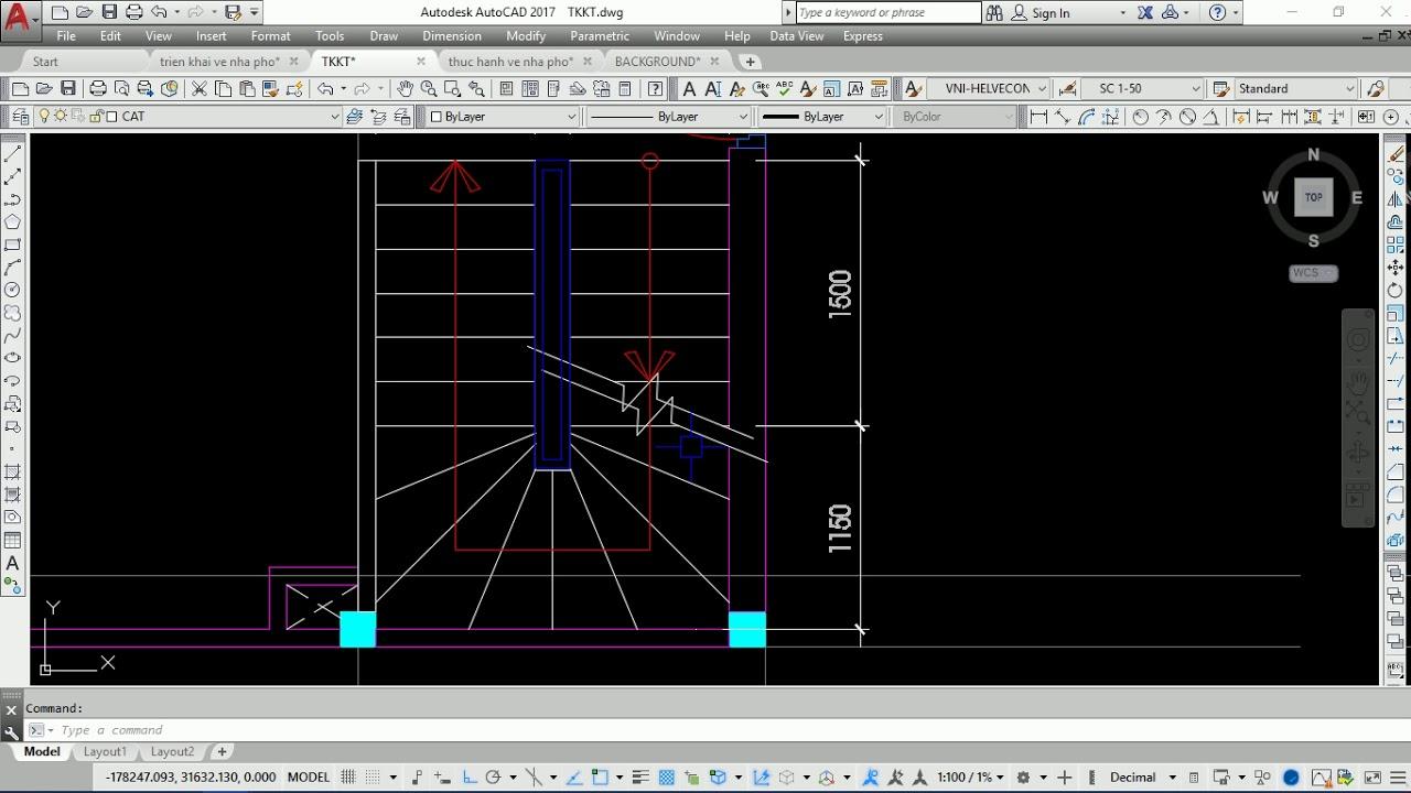 Triển khai bản vẽ kiến trúc nhà phố – Video 4: Vẽ mặt bằng cầu thang bộ