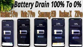 Realme 5 Pro vs Z1 Pro vs Note 7 Pro vs Realme X Vs Samsung A50 Battery Drain 100% To 0% Test HINDI