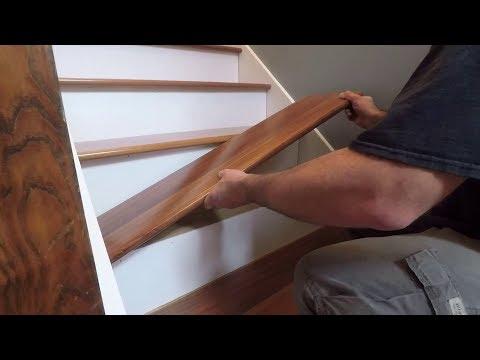 How To Install Prefinished Retrofit Stair Treads From Stair Treads | White Oak Stair Treads Home Depot | Risers | Red Oak Retread | Flooring | Stair Handrail | Landing Tread