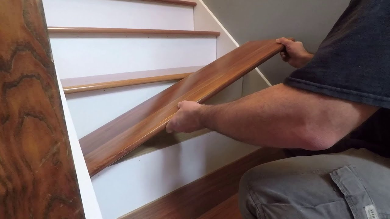 How To Install Prefinished Retrofit Stair Treads From Stair Treads | Wood Steps With White Risers | Timber | Wood Stair | Before And After | Color | Stair Tread