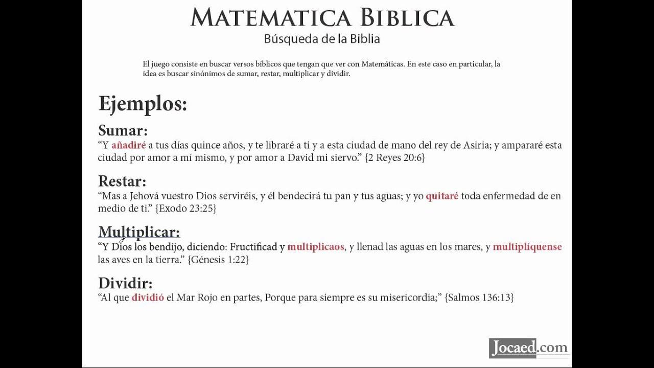 Juego Biblico Matematica Biblica Busqueda En La Biblia Youtube