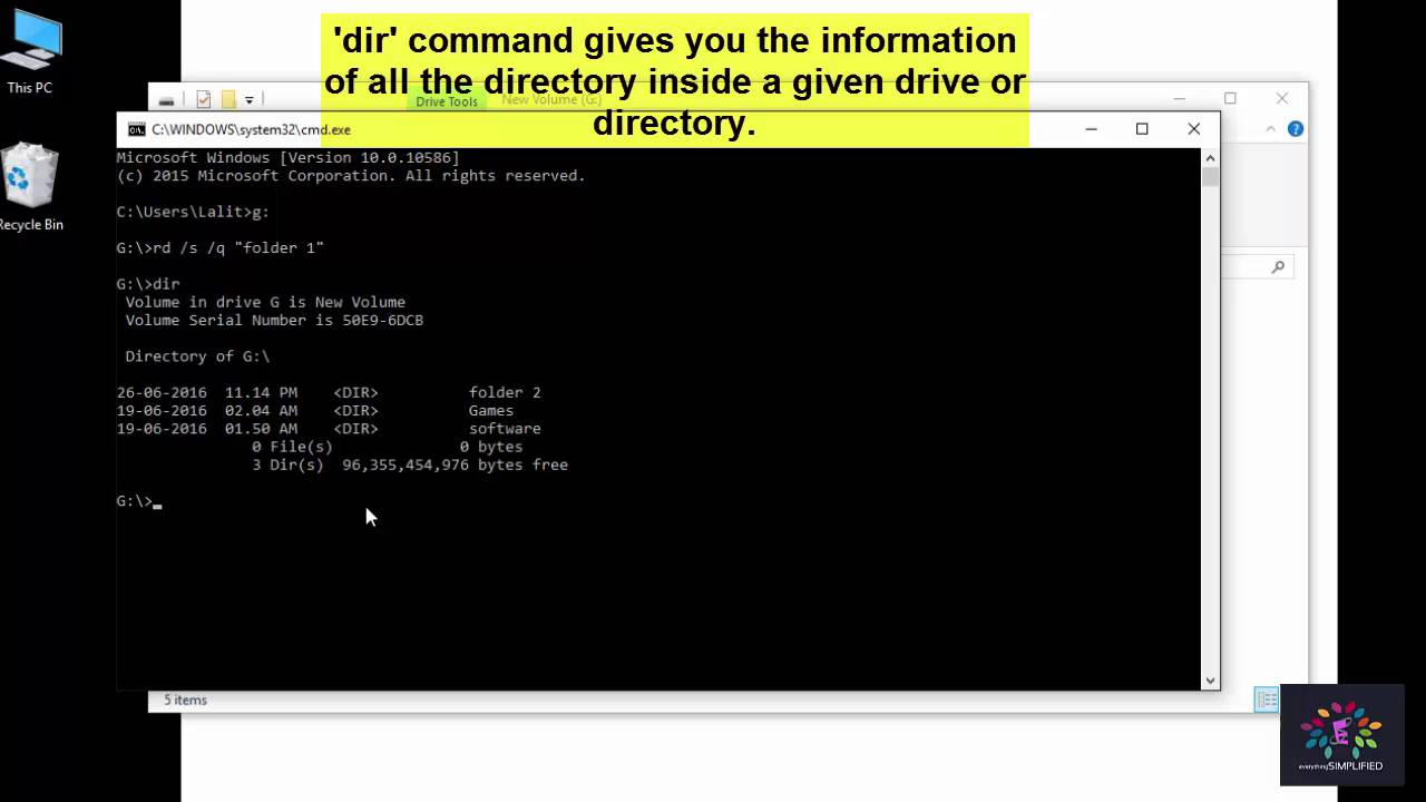 How to delete a folder or directory using command prompt for windows 7,8,10