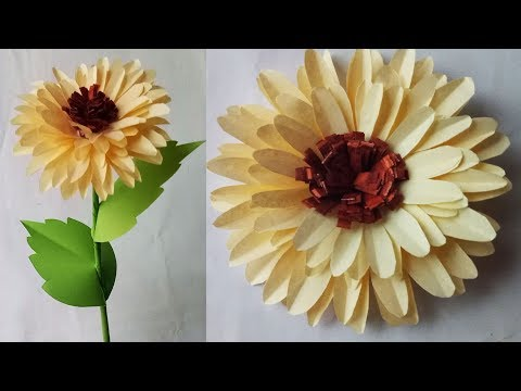 How to make a easy realistic paper Sunflower 🌻. DIY Paper Sunflower.