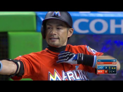 LAD@MIA: Ichiro lines an RBI single off the pitcher