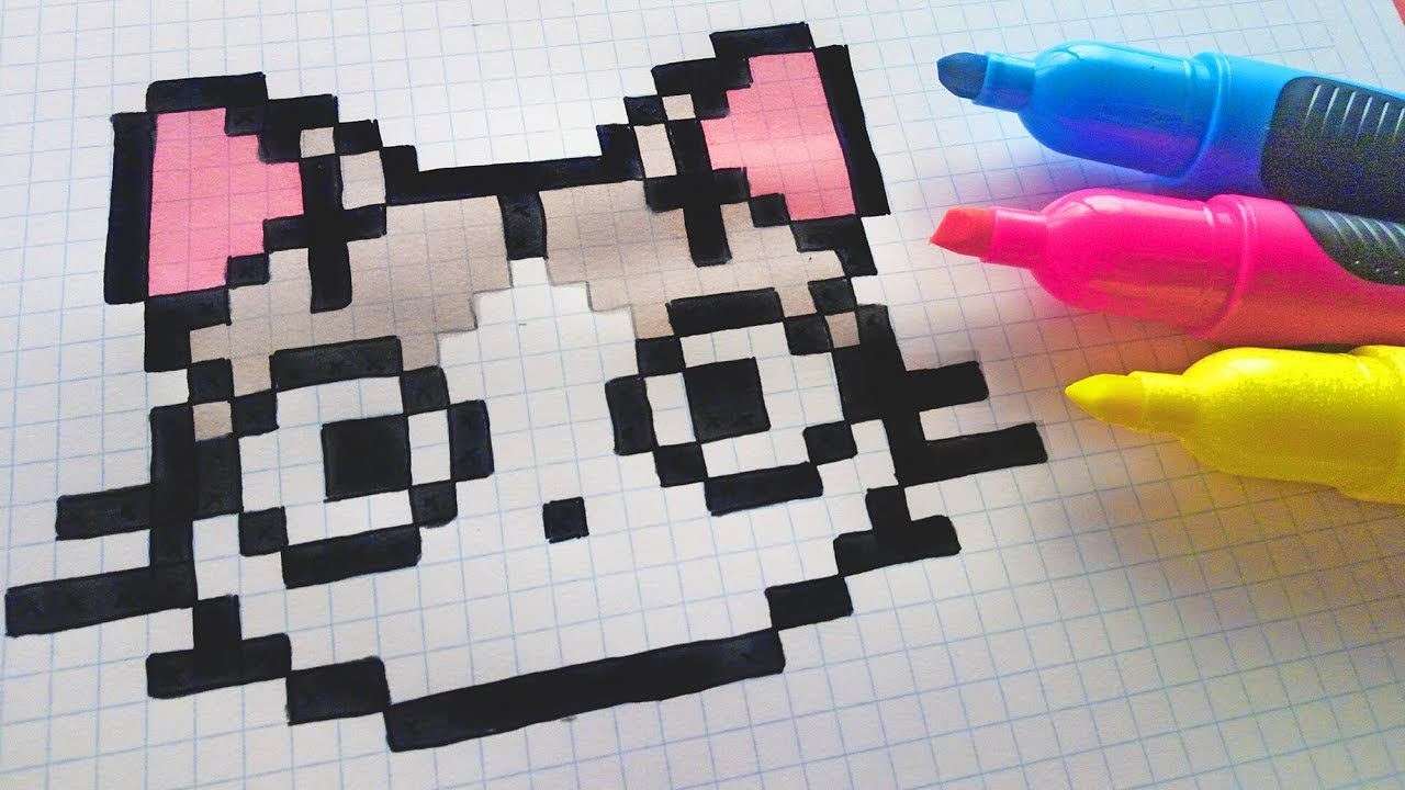 Handmade Pixel Art - How To Draw Kawaii Cat #pixelart ...