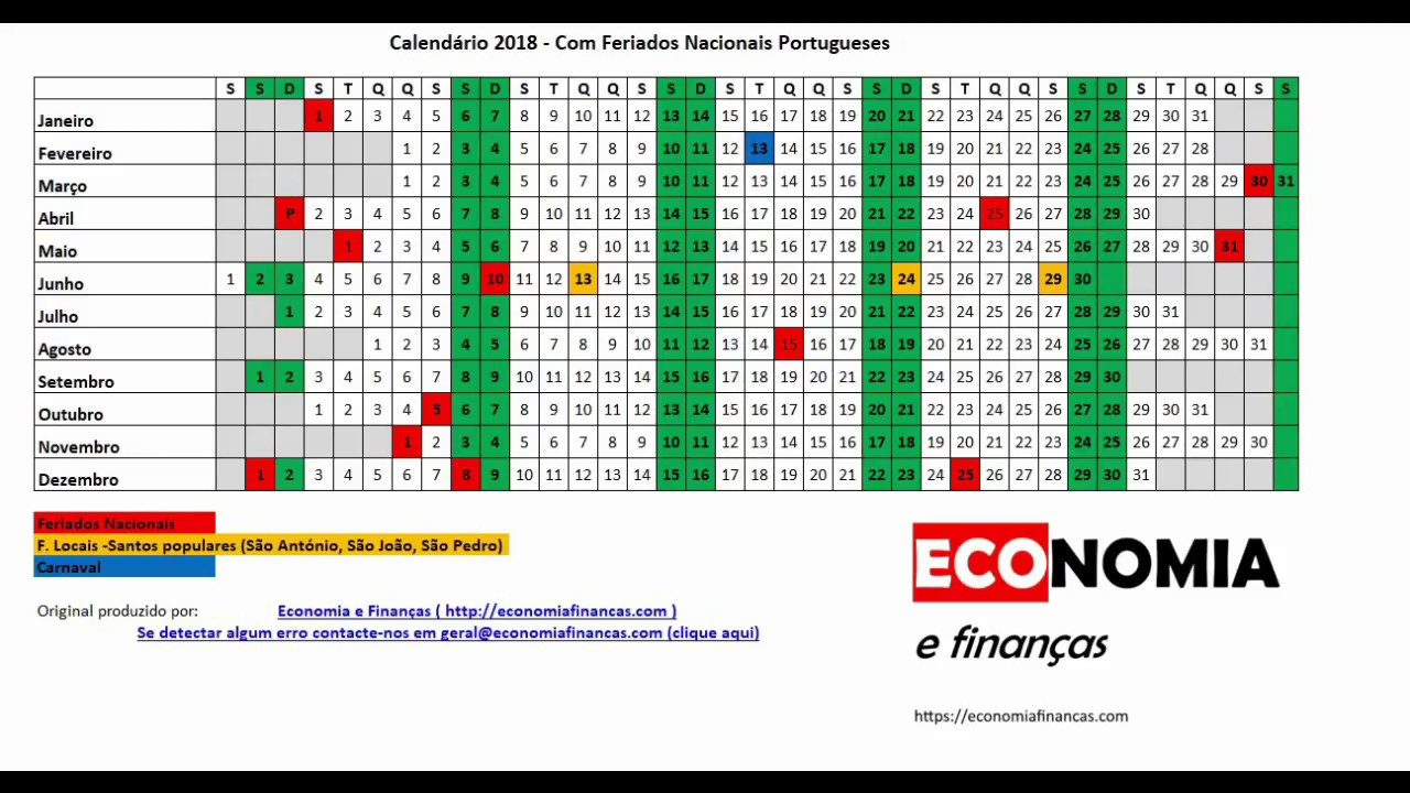 Calendario 2020 Portugal Com Feriados.Feriados Em 2018 Portugal Economia E Financas