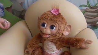 Обезьяна Интерактивная игрушка распаковка FurReal Friends Cuddles My Giggly Monkey unboxing