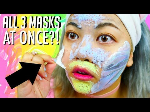 TRYING 3 NEW MASKS AT ONCE!! Peel Off, Bubble, Clay Mask for OILY ACNE SKIN! | I Dew Care Review