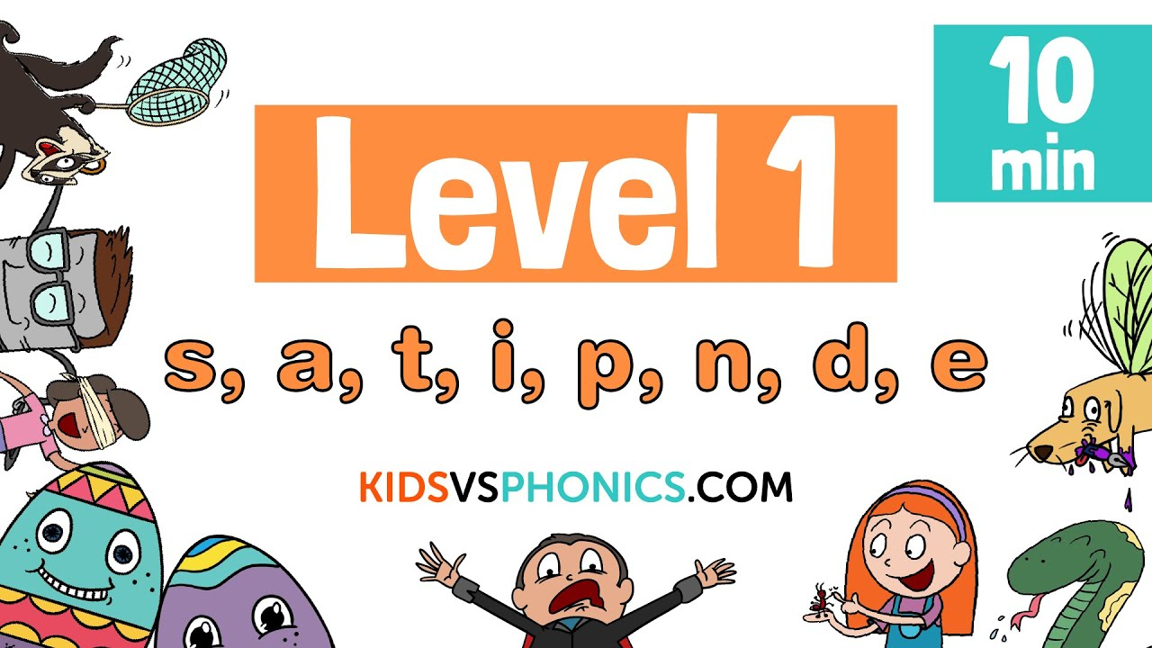 Learn Phonics - Level 1 Complete Collection | 10min | S, A, T, I, P, N, D,  E |