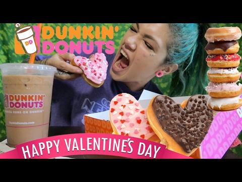 DUNKIN DONUTS MUKBANG!! VALENTINES DAY EDITION