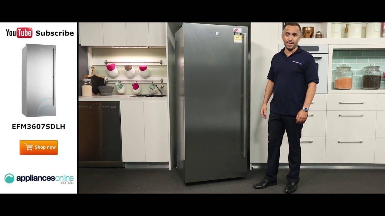 360l electrolux upright freezer efm3607sdlh reviewed by product expert appliances online youtube