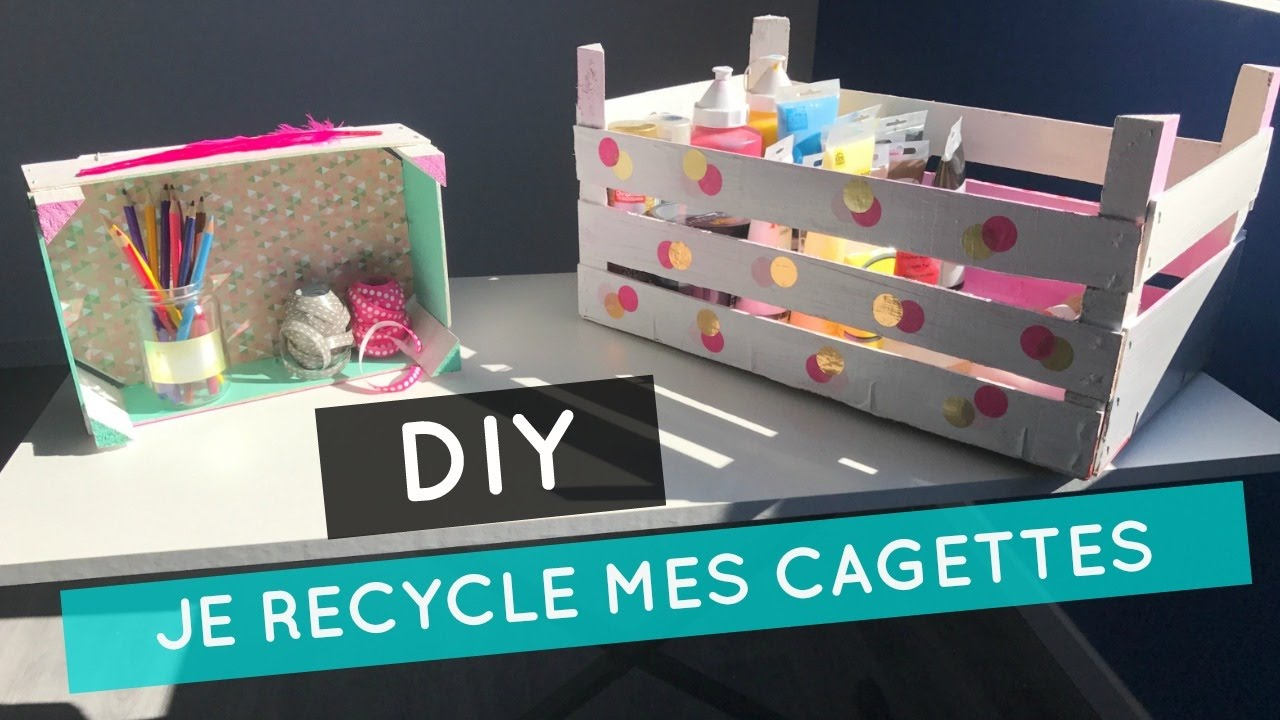 diy je recycle mes cagettes en bois youtube. Black Bedroom Furniture Sets. Home Design Ideas