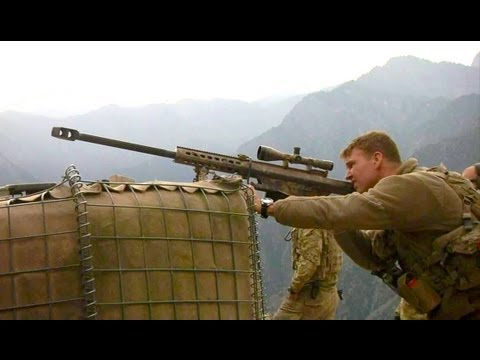 U.S. Army Sniper In Afghanistan With His Barrett Rifle