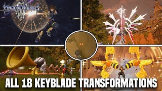 Kingdom Hearts 3 - All 18 Keyblade Transformations, Shot locks, Ultimate Moves & Unlock Requirements