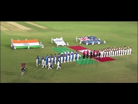 India & New Zealand Players arrive for National Anthem, Ind Vs NZ WT20 2016 VCA Jamtha.