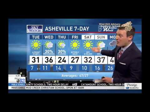 WLOS-13, Asheville, NC, 6 pm newscast weather segment, January 1, 2018