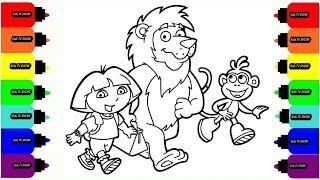 Dora the Explorer cartoon coloring // Draw Dora and her friends. Даша путешественница