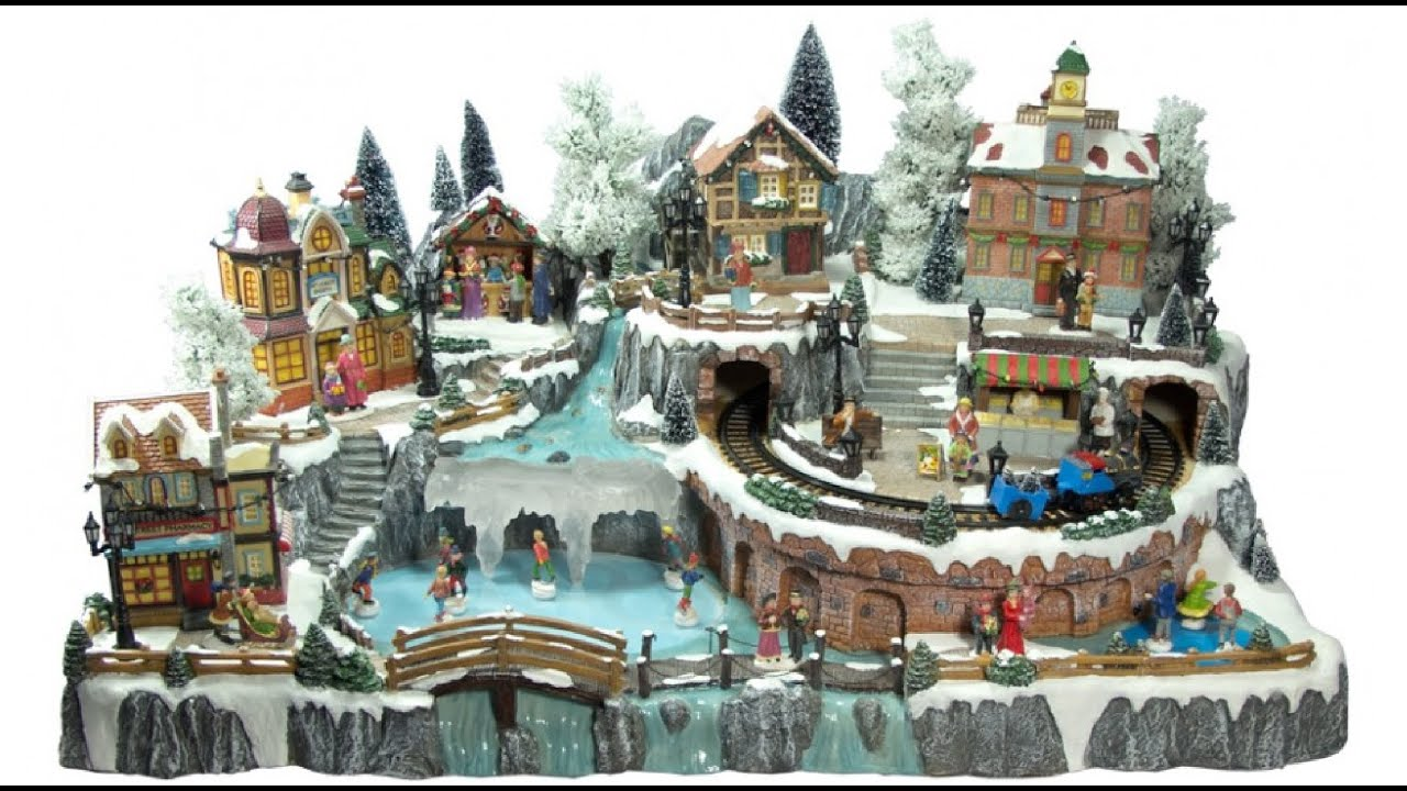 illuminated villages grand christmas town scene 85cm the christmas warehouse youtube - Animated Christmas Village