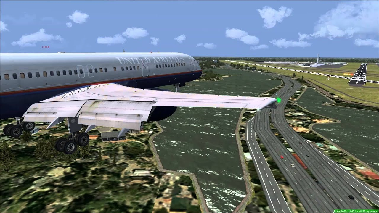 fsx quality wings 757 landing at miami international right side wing tip  view