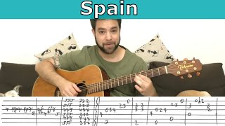 Fingerstyle Tutorial: Spain (Chick Corea) - Guitar Lesson w/ TAB