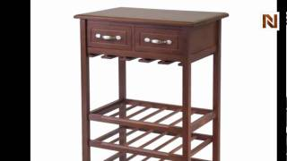 Winsome Wine Rack With 2 Drawers, Holds 24bottles, Glass Rack 94529