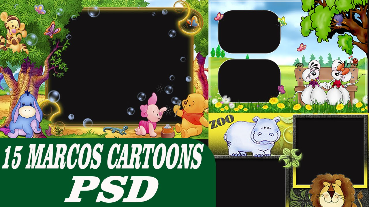 Pack de Marcos Cartoons - 15 Plantillas psd editable en photoshop CC