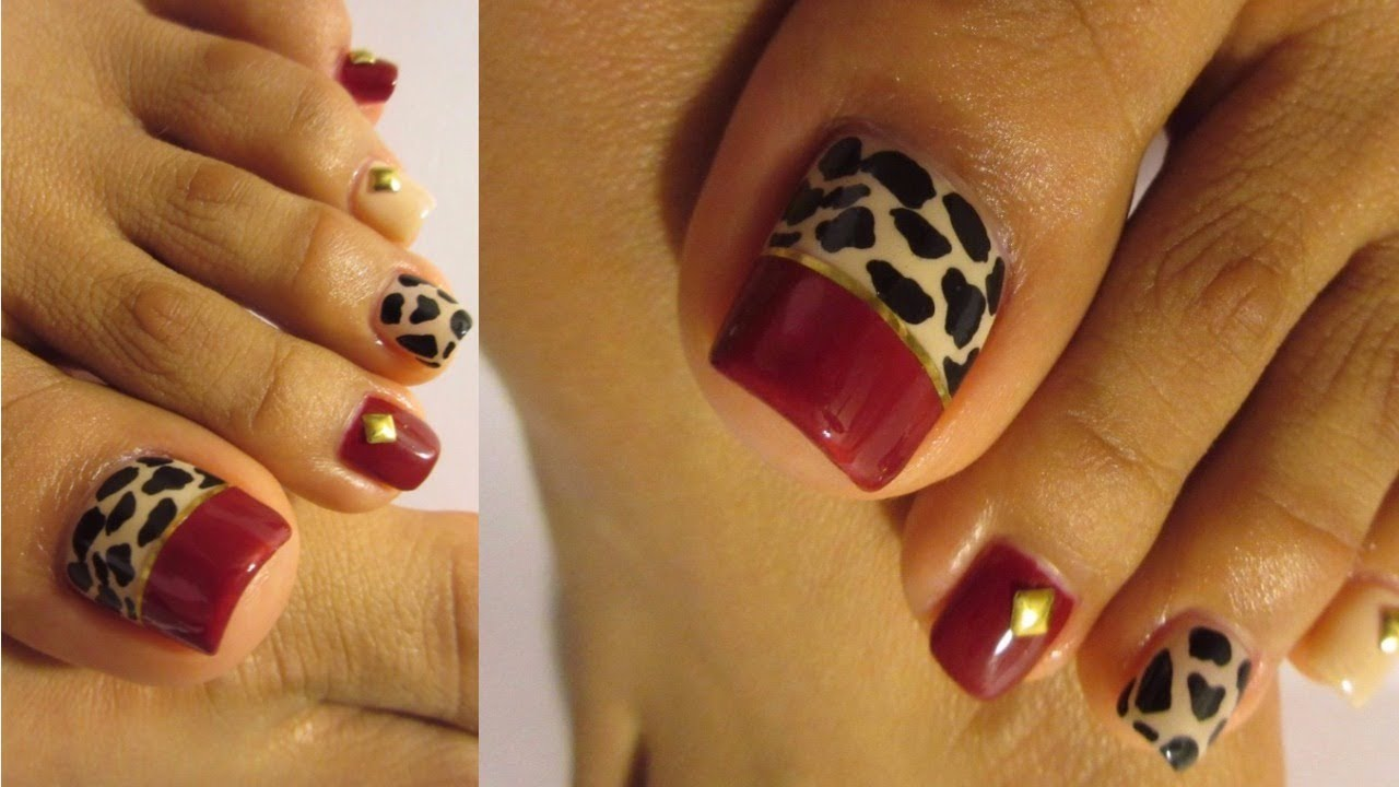 Unas De Los Pies Decoradas Top Animal Print Rojo Y Negro Uñas De Los Pies Decoradas Otoño Animal Print Pedicure