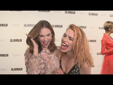 Glamour Awards 2017: Billie Piper follows BFF Lily James like a mum!