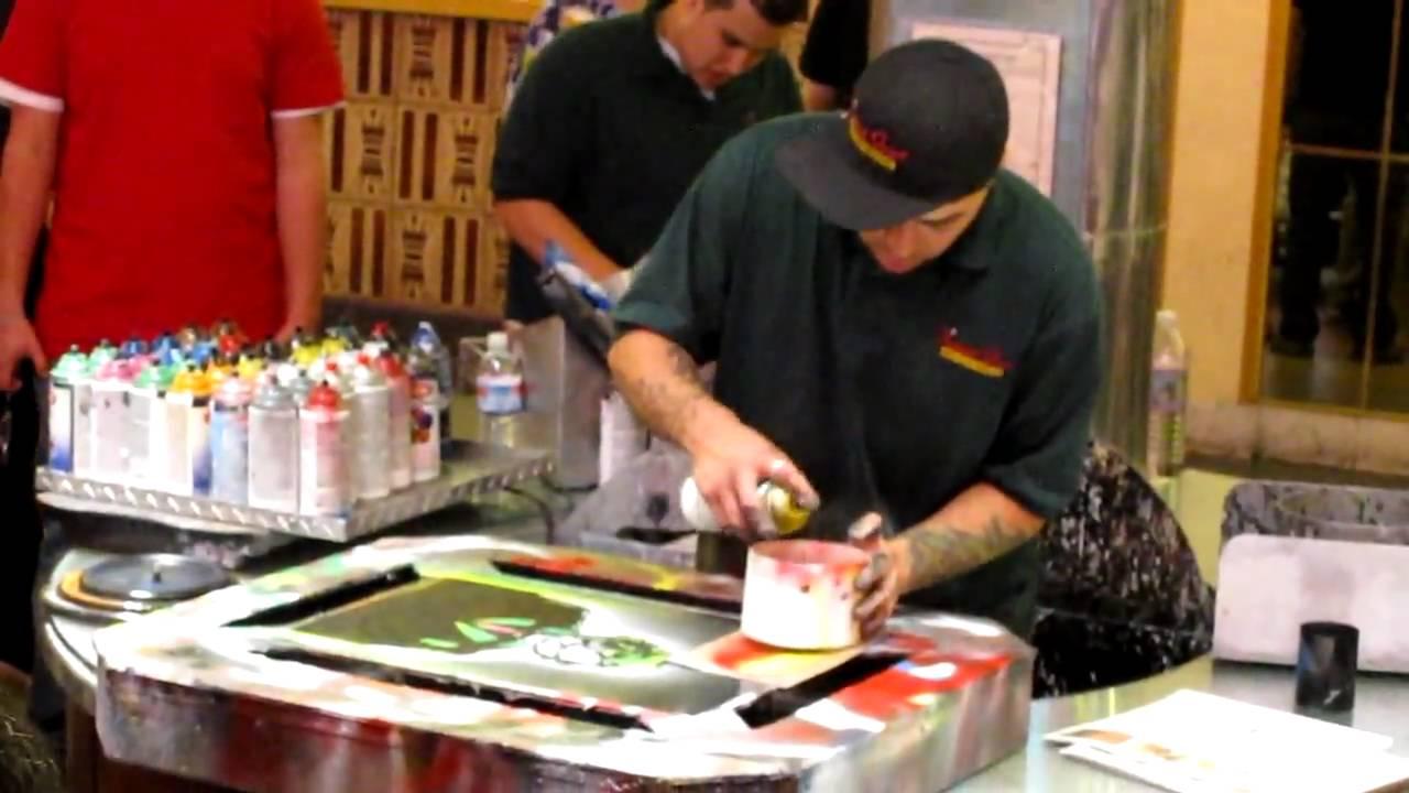 Spray Paint Art On Freemont Street Las Vegas Nv Youtube