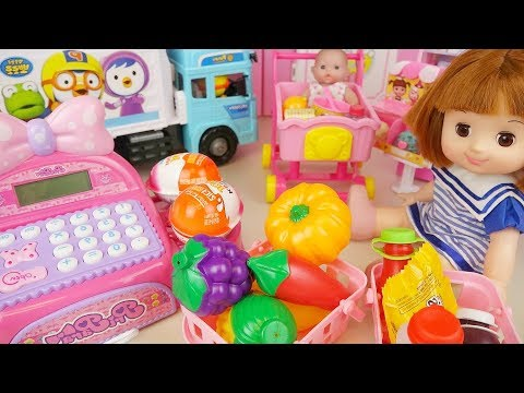 Baby doll mart register and food toys baby Doli play