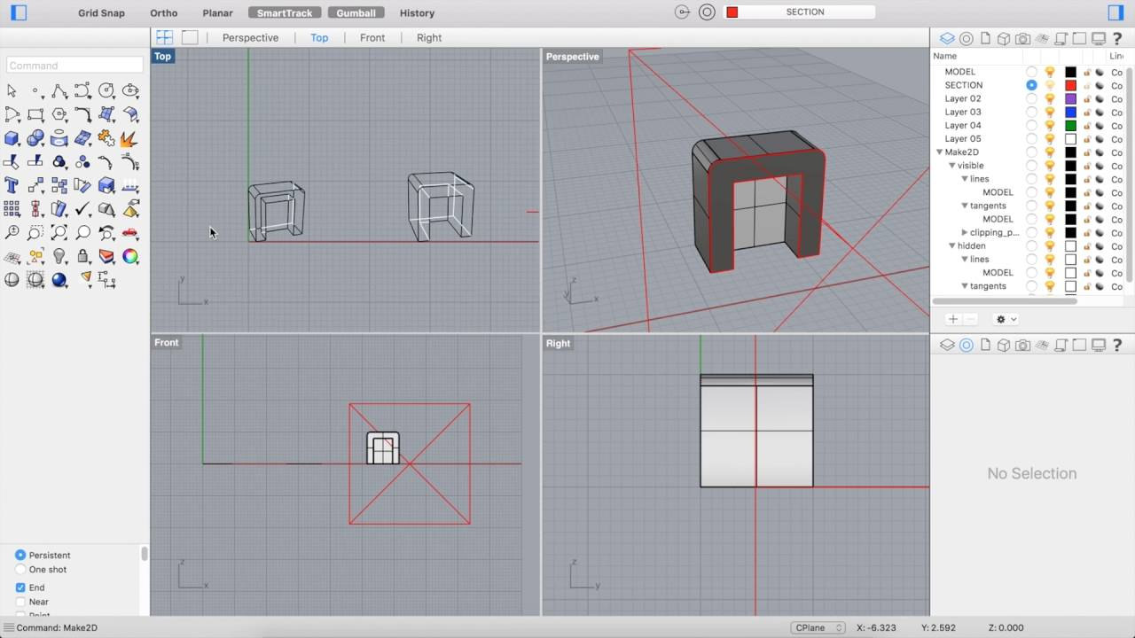 RHINO SECTION TOOLS Part 2: Make2D & Export