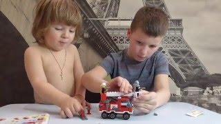 ENLIGHTEN Single Bridge Fire Engines \ Собираем китайский конструктор, типа Лего. Пожарная машина.