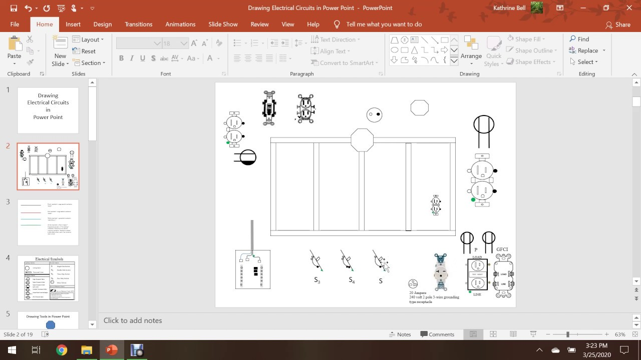 Drawing Electrical Circuits In Powerpoint Tutorial Youtube