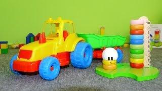 Развивающие мультфильмы про машинки: трактор и гусеница. Учим цвета и цифры.