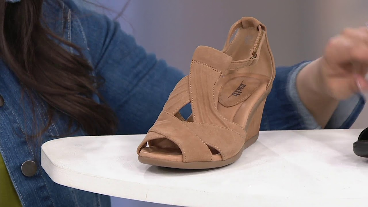 350ce4b61 Earth Suede Peep-Toe Wedge Sandals - Curvet on QVC - YouTube